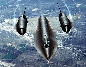 Lockheed SR-71 Blackbird - Water vapor is condensed by the low-pressure vortices generated by the chines outboard of each engine inlet.