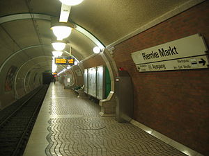 Bochum Stadtbahn - Riemke Markt station on the U35 has a Berlin U-Bahn stations because of lanterns in the platform area