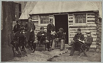36th Illinois Infantry Regiment - Staff officers at headquarters 6th Army Corps near Brandy Station, Va., 1864 36th Illinois Infantry.