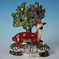 Staffordshire pottery pearlware stag and bocage figure, circa 1820.jpg