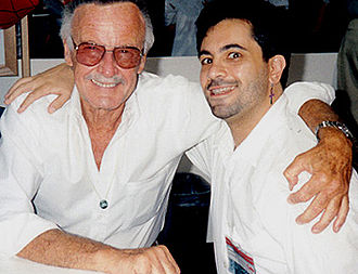Frank Lovece - Lovece (right) with Stan Lee, signing autographs together at the 1993 Comic-Con International San Diego