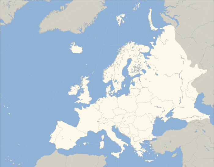 Standard map of Europe (blank)