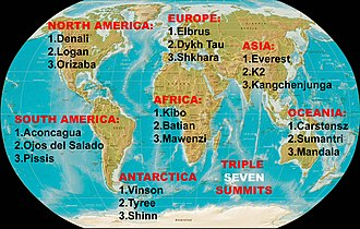 Christian Stangl - World map showing the three highest mountains of all seven continents, the Triple Seven Summits.