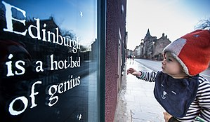 City of Literature - A trail of illuminated quotations on Edinburgh's Royal Mile celebrating over 500 years of publishing heritage. Photo by Chris Scott.