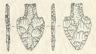"Lithic stage - Stemmed fluted ""Fishtail"" point"