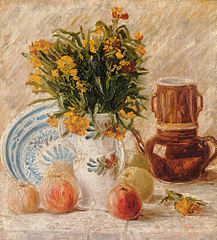 Vase with Flowers, Coffeepot and Fruit