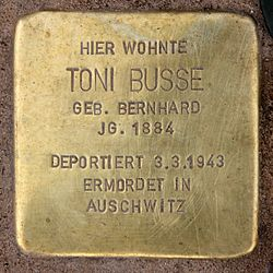 Photo of Toni Busse brass plaque