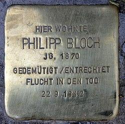 Photo of Philipp Bloch brass plaque