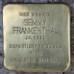 Photo of Semmy Frankenthal brass plaque
