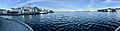 Stord harbour (hamn), Leirvik, Norway. Nattrutekaien, Tranen catamaran ferry, Evjo, Hamnegata, Teinevika, Oma Slipp, etc. Compressed, distorted panorma 2018-03-10.jpg