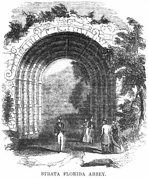 Strata Florida Abbey - The remains of Strata Florida Abbey as depicted in the 1851 Illustrated London Reading Book
