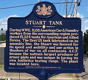 M3 Stuart - Marker where more than 15,000 Stuart tanks were manufactured, Berwick, Pennsylvania