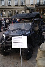 Stugna-P portable anti-tank guided missile launcher installed at the CF Moto Tracker quad bike in Kyiv 2.jpg