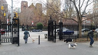 Stuyvesant Square - Part of the iron fence, with St. George's behind it