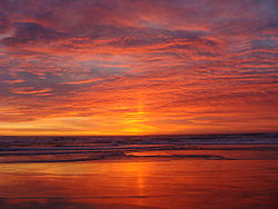 Sunset at Salinas River State Beach in Monterey County in the northern part of the central coast