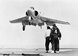 Supermarine 525 approaching HMS Centaur (R06) 1955.jpg