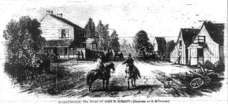 Mary Surratt - A woodprint depicting Surrattsville and the Surratt home, printed in 1867 in Harper's Weekly.