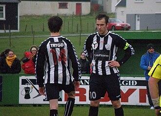 Tvøroyrar Bóltfelag - TB players in a match against FC Suðuroy, the players are Rógvi Joensen and Bárður A. Dimon