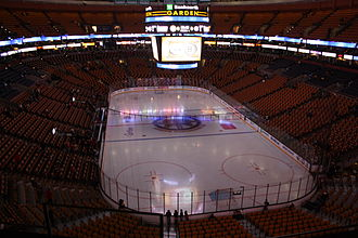 TD Garden - The Boston Bruins' hockey rink prior to a game vs the Montreal Canadiens in 2008 then TD Banknorth Garden