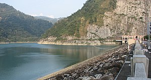 Grid energy storage - Mingtan Pumped Storage Hydro Power Plant dam in Nantou, Taiwan