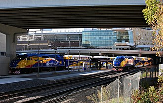 Target Field (Metro Transit station) - Northstar Commuter Rail trains at Target Field Station in 2009.