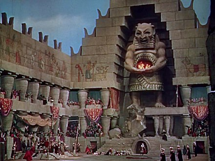 DeMille's set pieces include this pagan temple in Samson and Delilah (1949) Temple of Dagon in Samson and Delilah trailer.jpg