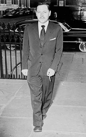 Tennessee Williams -  Williams arriving at funeral services for Dylan Thomas, 1953