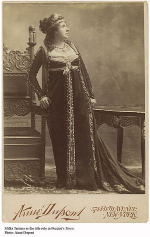 Milka Ternina - Promotional photograph of Milka T(e)rnina as Tosca, taken for the Met premiere of the opera of the same name in 1901.