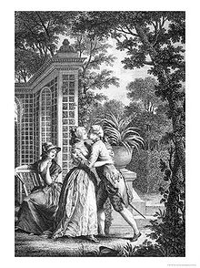 Black-and-white engraving of a kiss between a man and woman standing in a garden with a pavilion in the background. Trees frame the scene and there is a woman watching the couple from a chair. There is an urn with a fern in it in the background.