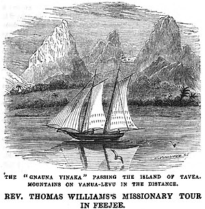Tavua, Fiji - Image: The Gnauna Vinaka Passing the Island of Tavea. Mountains of Vanua Levu in the distance (June 1853, X, p.67) Copy