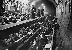Aldwych tube station - Shelterers inside Aldwych station during the Blitz, 1940.