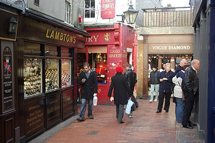 The Lanes is a tourist attraction occupied by small independent shops. The Lanes, Brighton - geograph.org.uk - 633351.jpg