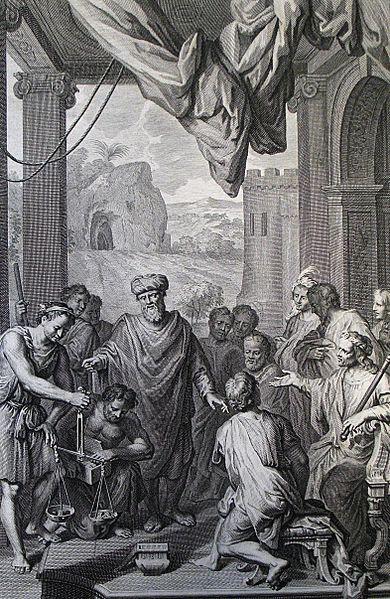File:The Phillip Medhurst Picture Torah 122. Abraham purchasing Ephron. Genesis cap 22 v 16. Hoet.jpg