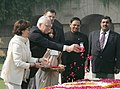 The President of the Czech Republic Mr.Vaclav Klaus and Mrs. Livia Klaus paying floral tributes at the Samadhi of Mahatma Gandhi at Rajghat in Delhi on November 7, 2005.jpg