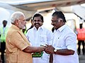 The Prime Minister, Shri Narendra Modi being received by the Chief Minister of Tamil Nadu, Shri Edappadi K. Palaniswami and the Deputy Chief Minister of Tamil Nadu, Shri O. Panneerselvam, on his arrival, in Chennai.jpg