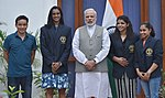 The Prime Minister, Shri Narendra Modi meeting the Khel Ratna Awardees of 2016, P.V. Sindhu, Sakshi Malik, Dipa Karmakar and Jitu Rai, in New Delhi on August 28, 2016.jpg