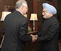 The Prime Minister of Malaysia, Mr. Mohammad Najib Abdul Razak being welcomed by the Prime Minister, Dr. Manmohan Singh, at the ASEAN-India Commemorative Summit, 2012, in New Delhi on December 20, 2012.jpg