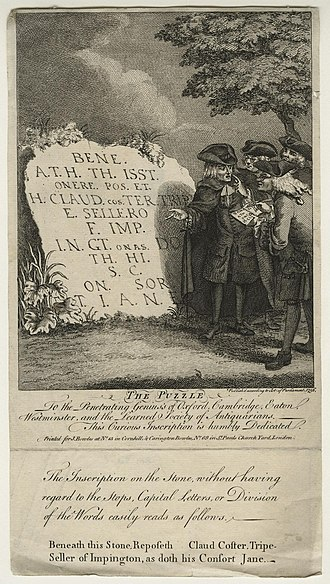 "Antiquarian - The Puzzle (1756): etching by John Bowles. In one variation on a recurrent joke, four antiquaries struggle to decipher what seems to be an ancient inscription, but which is in fact a crude memorial to Claud Coster, tripe-seller, and his wife. The print is ironically dedicated to ""the Penetrating Genius's of Oxford, Cambridge, Eaton, Westminster, and the Learned Society of Antiquarians""."