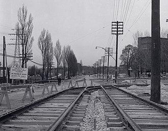 "The Queensway - The Queensway under construction in 1956 as the ""Queen Street West Extension"""