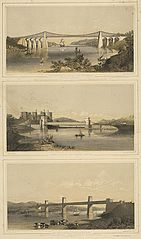 The Suspension Bridge over the Menai; Conway Castle, and Tubular Bridge; The Britannia Tubular Bridge