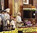 The Vice President and Chairman, Rajya Sabha, Shri M. Hamid Ansari addressing during the farewell ceremony of the President, Shri Pranab Mukherjee, at Central Hall of the Parliament, in New Delhi on July 23, 2017.jpg