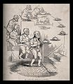 The evolution of a dog and bone into a butler bearing a silv Wellcome V0011243.jpg