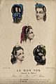 The heads of five women with braided hair dressed with ribbo Wellcome V0019879ER.jpg