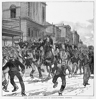 """The labor crisis. - The riot in George Street, Sydney"" (c.1890) The labor crisis. - The riot in George Street, Sydney (1890).jpg"