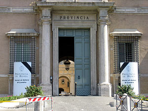 """7 July 2005 London bombings memorials and services - The Palazzo Valentini (the provincial seat of government in Rome) mourning the London Bombings. The posters read: """"The Province of Rome. Close to the suffering of London""""."""