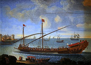 Galley slave - A réale galley belonging to the Mediterranean fleet of Louis XIV, the largest galley force of the late 17th century; oil on canvas, c. 1694