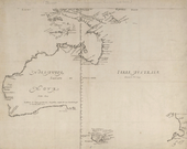 "Map depicts the western and northern coast of Australia (labelled ""Nova Hollandia"")، Tasmania (""Van Diemen's Land"") and part of New Zealand's North Island (labelled ""Nova Zeelandia"")۔"