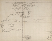 A typical map from the Golden Age of Netherlandish cartography. Australasia during the Golden Age of Dutch exploration and discovery (c. 1590s–1720s): including Nova Guinea (New Guinea), Nova Hollandia (mainland Australia), Van Diemen's Land (Tasmania), and Nova Zeelandia (New Zealand).