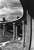 This photograph shows a completed view of the Byker Viaduct in the summer of 1979. (8691414027).jpg