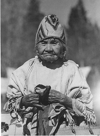 Thorp, Washington - Lucy Pahofta Bertram was the daughter of Indian John. She lived in the Thorp area with her husband Antoine. She is seen here wearing traditional attire complete with intricate beadwork on her hat.